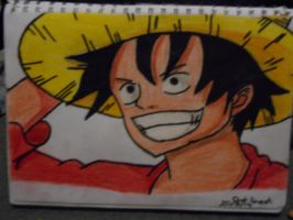 luffy colour test and out line by MelodyLockstar
