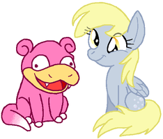 Slowpoke and Derpy by HeartinaThePony