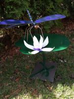dragonfly on lily pad I by womanwelder