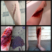 SFX wound on leg by immckenzieakilljoy