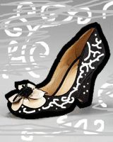 Black Floral Front shoe in oil paint by Maellanie