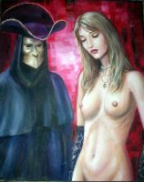 Masked Figure and Nude by dashinvaine