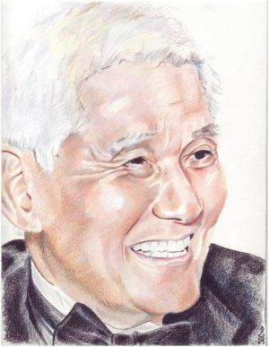 Colored pencil portrait of an older gentleman wearing a tuxedo.