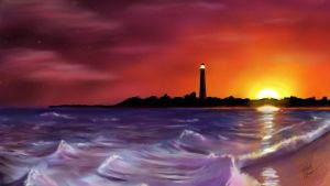 Cape May Lighthouse at sunset - Digital Painting by RandallHzr