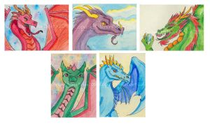Dragon ACEOs week 3 by The-GoblinQueen