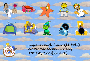 simpsons v1 128x128 11icons by gr8koogly
