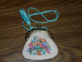 Cross Stitch Change Purse. by CrushedRoses11