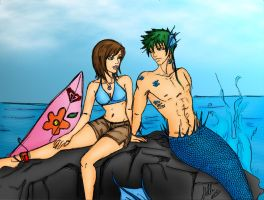 Surfer and  Merman - Colored by toonham