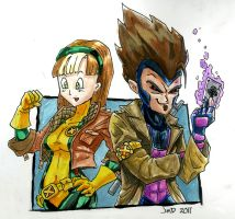 Bulma-Vegeta as Rogue-Gambit by DangerPins