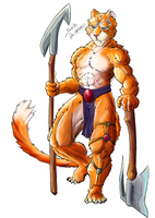 Feline warrior sneer by Seth-Desmoen