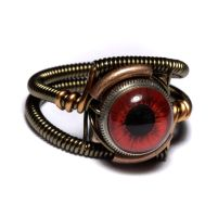 Steampunk ring Red Eye by CatherinetteRings