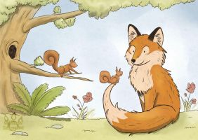 Fox and curious squirrel by tamaraR