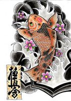 Koi fish with the word kyokushin on the parchment by JCBernhard