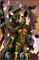 Gambit and Rogue by MINO21c