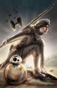 Star Wars Rey and BB8 by mindywheeler