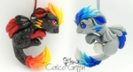 Kasai and Kori griffin - polymer clay pendants by CalicoGriffin