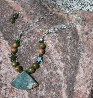 Green Marble Pendant Necklace by EmMakesStuff