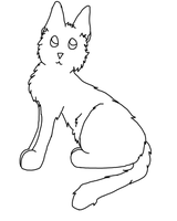 Sitting Cat Lineart by LittleOrca20