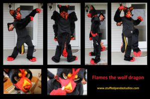 Furry Flames the wolf dragon by stuffedpanda-cosplay