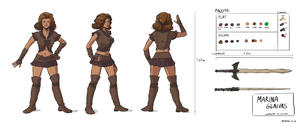 Marina character sheet - leather armor by Pehesse by Kervala