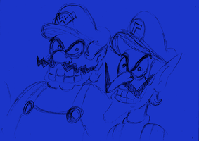Sketch Wario and Waluigi by ZeFrenchM
