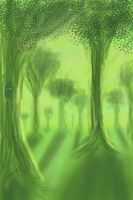 Lime Green Forest_Finger Paint by Tsitra360