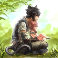 Miqo'te Noct and Lalafell light by relear