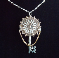 Silver And Copper Key Necklace by EternityKeyJewelry