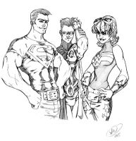 Superboy, Robin, Wonder Girl by AdamWithers
