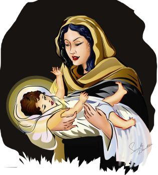 Mother Mary and Child Jesus by senarath