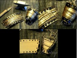 Golden Scales Leather Cuffs by izasartshop
