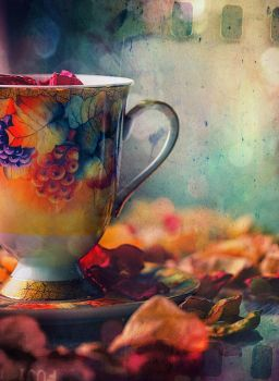 cup and the leaves of roses by Anti-Pati-ya