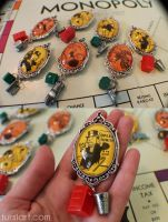 Monopoly Brooches and Fridge Magnets by tursiart