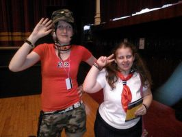 Me with creepy Battle Royale instructor cosplayer by OtakuRhi
