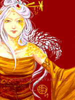 Golden lady sketch by MeredithDillman