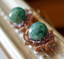 Puya Emerald Amethyst Rosegold Earrings by CrysallisCreations