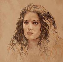 Daily Sketch 03: Salma Hayek in Desperado by artandwine365