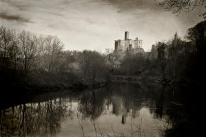 Warkworth Castle 9 mono by newcastlemale