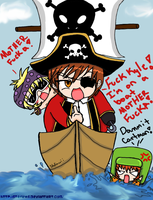 cartman is on a boat by stefawii