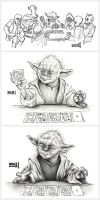 Sketches of Cantina Denizens by Erik-Maell