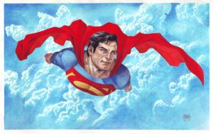 Superman in Gouache by edtadeo
