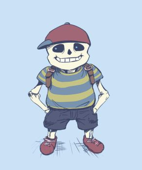 Sans as Ness by ClydeWuts