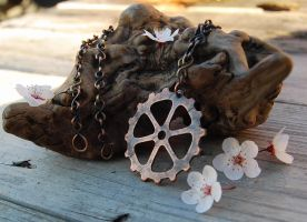 Gear Pendant in Copper by DreamingDragonDesign