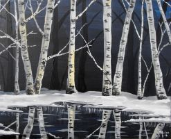 Silent Night with Birch Trees by frizz-art