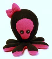 Skull with bow octopus plush by jaynedanger