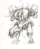 Really rough mech sketch thing by TickTockMan92