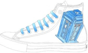 Custom Converse :: Tardis by ninja-hamsters