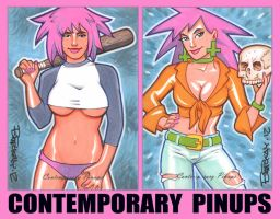 More Contemporary Pinups Gold Sketch Cards by BillMcKay