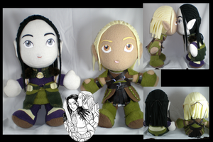Zevran + Warden plushies by eitanya