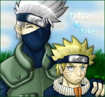 Kakashi and bratty Naruto by firnantowen